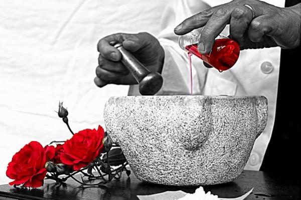 Rosso come la passione. Rosso come la Digitalis Purpurea che rafforza un cuore affaticato, come il Chinino che guarisce popolazioni palustri dalla malaria. Rosso come la Doxorubicina  che cura un tessuto neoplastico, come il Rifamicina che sconfigge un'infezione batterica, come la Mebromina che medica un tessuto ulcerato. Rosso come il sangue di vite salvate, di salute bramata, di guarigione ottenuta. Rosso come l'Amore.